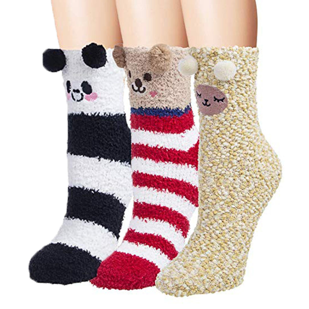 3 Pairs socks women Fuzzy Socks Warm Soft Slipper Home Sleeping Cute Animal Socks chaussettes femmes женские носочки#A25|Socks| - AliExpress