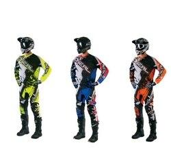 3 farben fabrik Heraus Motocross Getriebe Set Jersey + Hosen Racing Getriebe Kombination Handschuhe Mountainbike reiten Jersey Und Hosen anzug