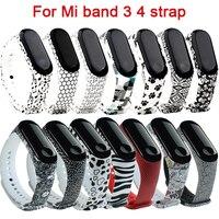 Cinturini in Silicone per Xiaomi Mi Band 4 3 Wristband Printing braccialetti di ricambio sportivi in TPU morbido bianco e nero per Mi Band 3 4
