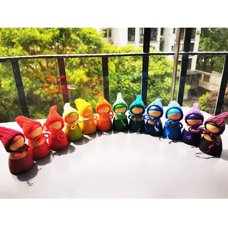 6/12pcs Hilren Wooden Rainbow Dolls In Beanies For Rainbow Stackable Blocks Wooden Natural Dolls In Knitting Hat Montessori Toy