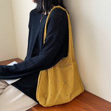 Casual Large Capcity Wool Shoulder Bags Fashion Knitting Hollow Out Bag Women Handbags  Simple Handbags For Ladies Shopping Bags