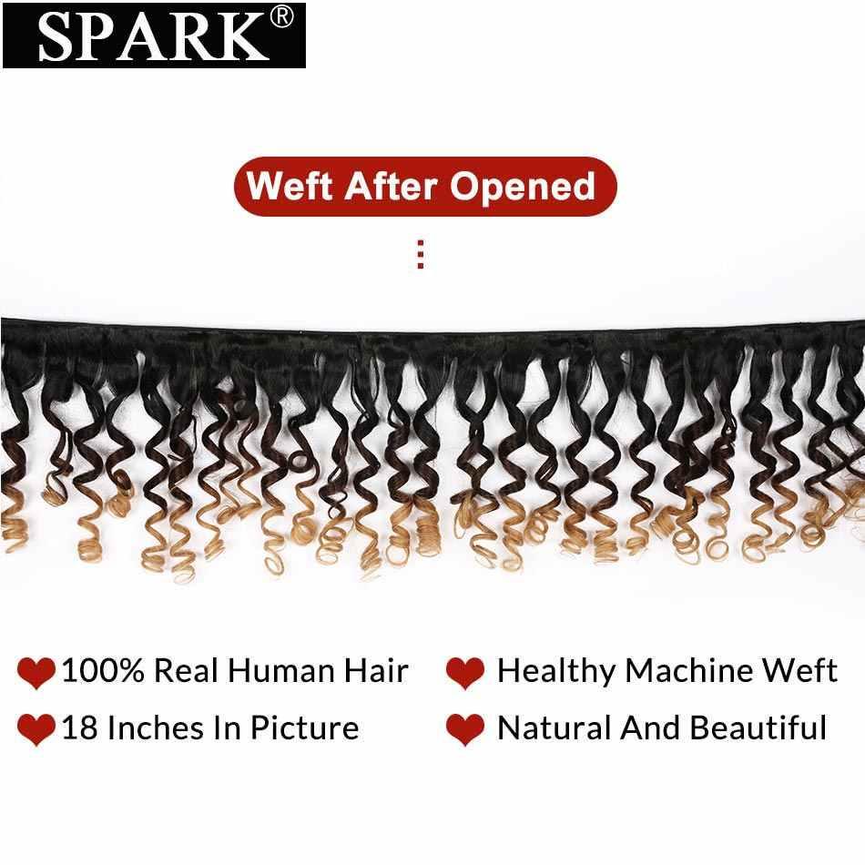 Spark Losse Bouncy Krullend Ombre Braziliaanse Haar Menselijk Haar Weave 3 Bundels Met Sluiting Remy Human Hair Met Sluiting Medium verhouding