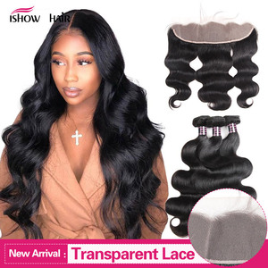Ishow Transparent Lace Frontal with Bundles Body Wave Bundles with Frontal Malaysian Human Hair 3 Bundles with Frontal Closure(China)