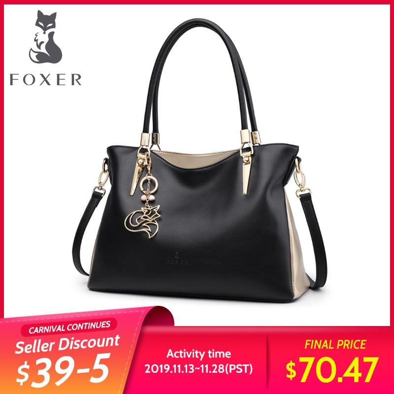 FOXER Brand Cowhide Leather Women Handbag & Shoulder Bag Female Fashion Handbags Lady Totes Women's Crossbody Bags