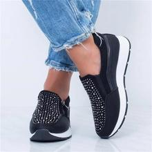Women Crystal Sneakers Spring Autumn Casual Zipper Flat Shoes women Non-slip Bre