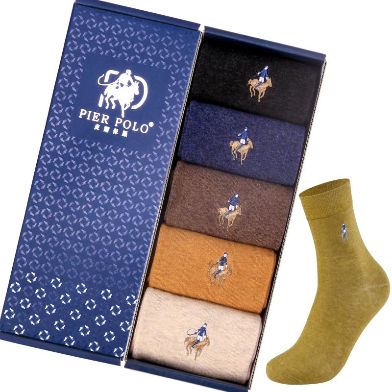 2019 Pilbolo цветные мужские носки, мужские зимние теплые носки, хлопковые вышитые мужские носки высокого качества, 5 пар