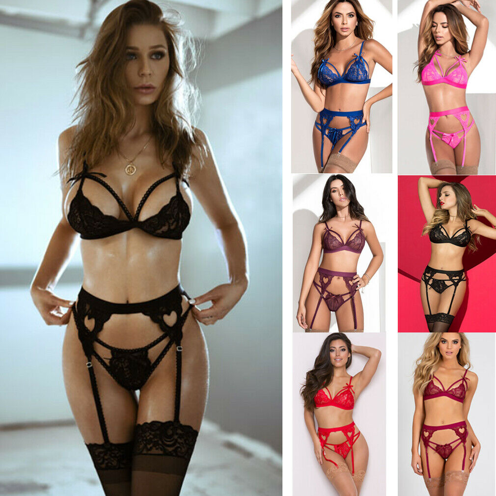 3 Pcs Porno Women Lace Sexy Lingerie Set Bandage Bra Underwear G-string With Garter Belts Exotic Sets Nightwear Sleepwear
