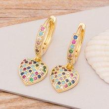Новые модные классические серьги в форме сердца с крестиками