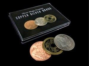 Медная Серебряная латунь (CSB) от Оливера Magic Coin transpission Close Up Coin Magic Tricks Magic Props Magic Street Magic,Gimmicks