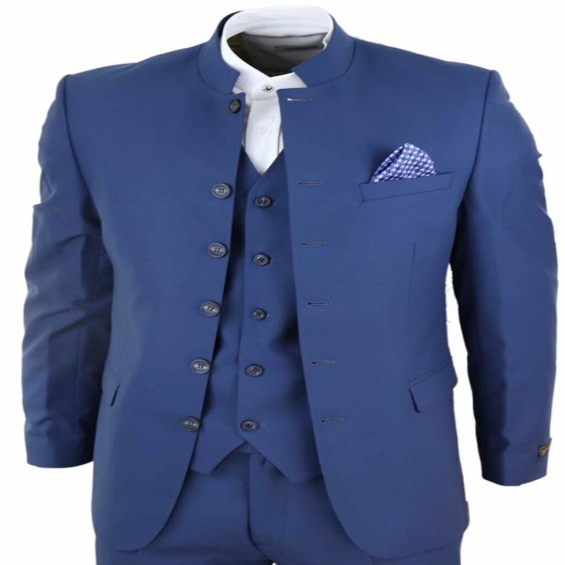 2020 Newest Mens Suits 3 Piece Nehru Grandad Collar Suit Beatles Indian Tailored Fit Classic Costume Homme
