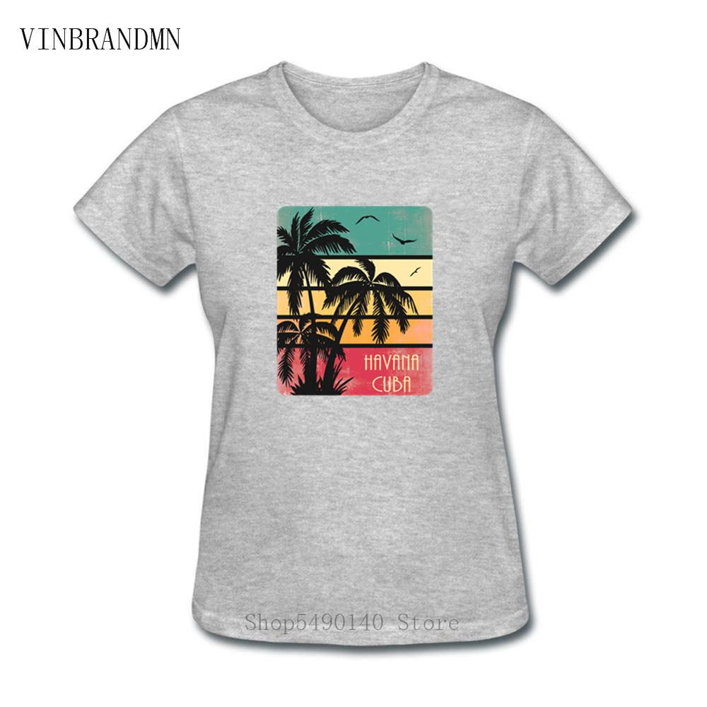 Retro Hipster Havana Tshirt Vintage Sunset Kuba Cuba Party DJ Club T Shirt Che Guevara Women T-Shirts 100% Cotton Beach Clothing image