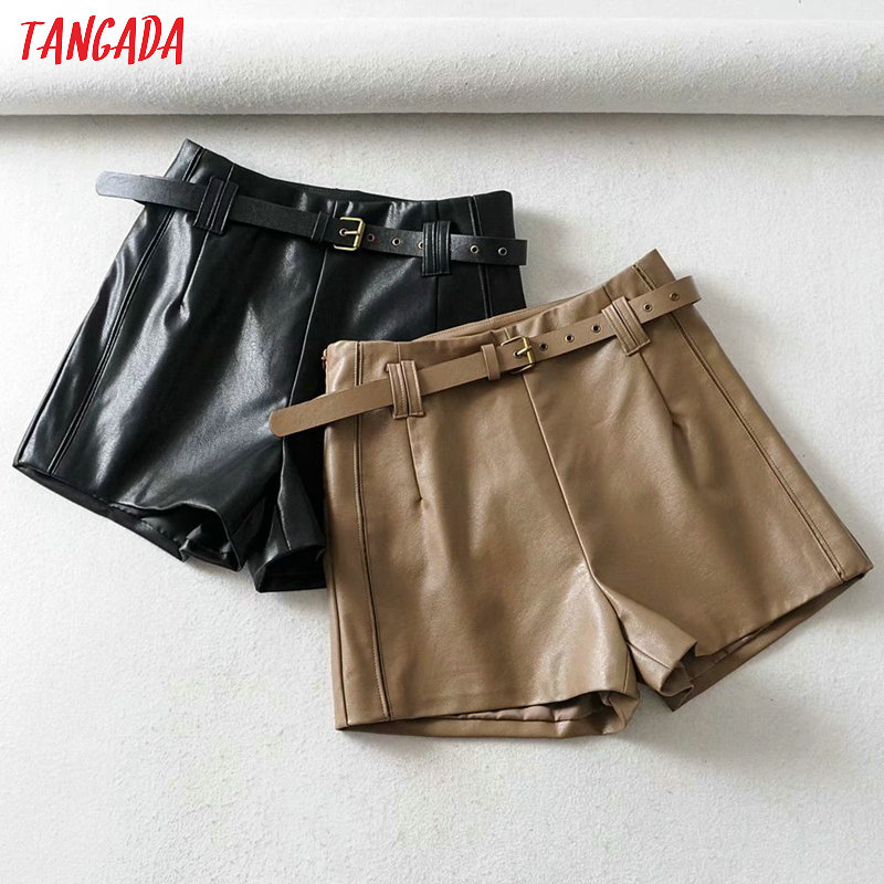 Tangada Women Brown Pu Leather Skirt Shorts With Belt Zipper Female High Waist Ladies Casual Shorts 1Y07