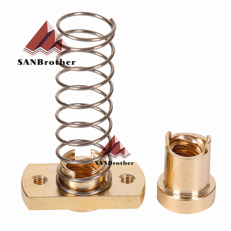 1set anti-back lash TR8 lead screw brass nut for upgrade CR-10 Tornado and clone 3D printer anti backlash Spring Loaded nut