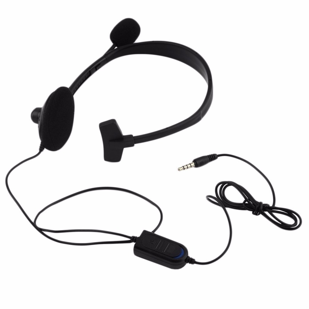 Black Over-ear Wired Earphone Headphones With Microphone Gaming Headset For PC Video Game Gamer For Playstation For PS4 With VOL