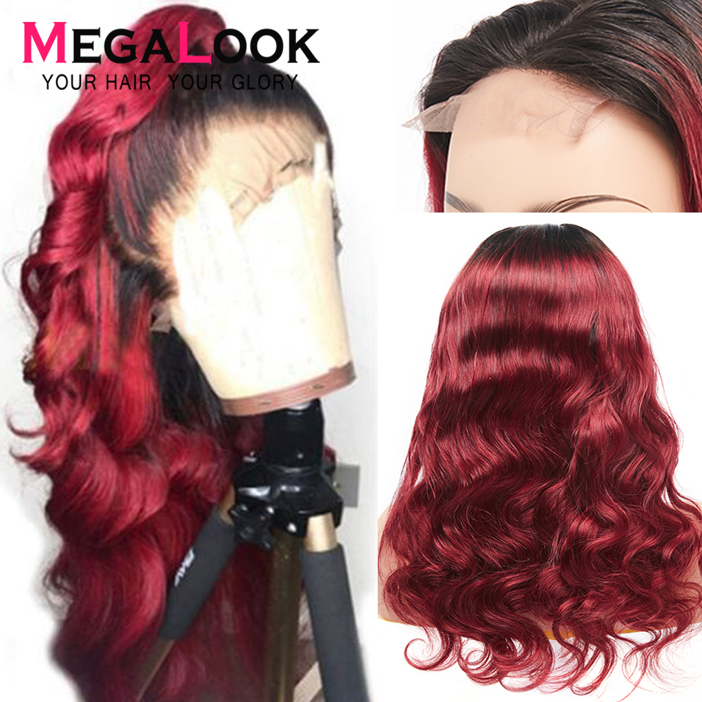 1b 99j 4x4 Closure Wigs For Black Women Preplucked Lace Wig Body Wave Wig Remy Colored Human Hair Wigs With Baby Hair Megalook