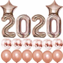 8SEASON 2020 New Years Eve Party Supplies Rose Gold Confetti Balloons Kit 40inch Number balloon