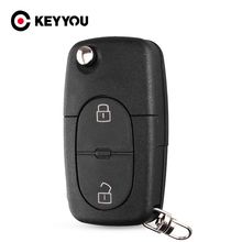 KEYYOU 10x For Audi A2 A3 A4 A6 Old Models CR1620/CR1616 2 Button Flip Folding Remote Key Case Shell