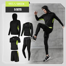Men Sportswear Compression Sport Suits Quick Dry Running 5 Sets Clothes Sports Training Gym Fitness Tracksuits Running Set(China)