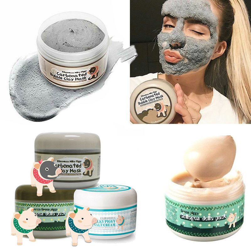 Elizavecca Milky Piggy Carbonated Bubble Clay Mask Green Piggy Collagen Jella Pack Aqua Brightening Mask Korea Facial Mask