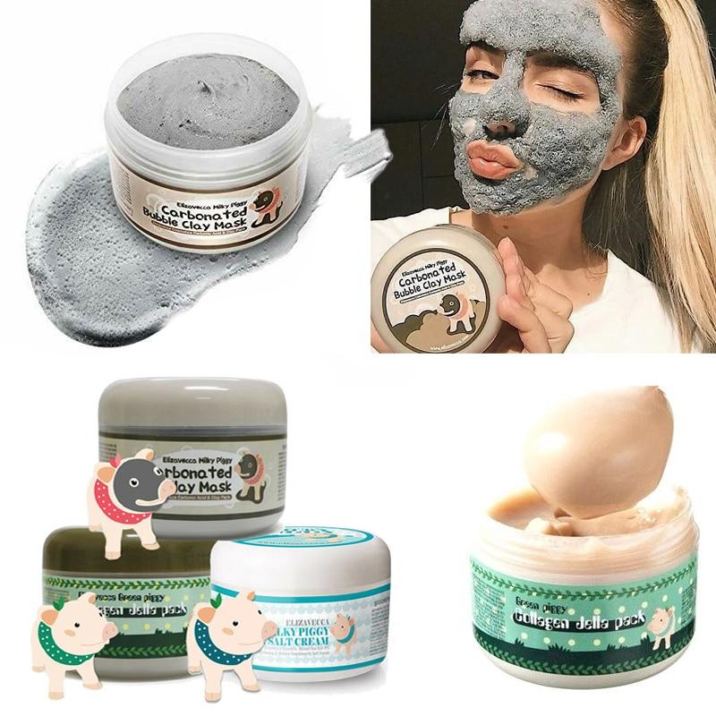 Elizavecca Milky Piggy Carbonated Bubble Clay Mask Green Piggy Collagen Jella Pack Aqua Brightening Mask Korea Facial Mask