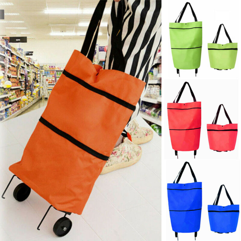 New Fashion <font><b>Shopping</b></font> Cart Oxford Cloth Portable Trolly 3-position <font><b>Folding</b></font> Trolley Stainless Steel Pull Rod <font><b>Bag</b></font> With Mute <font><b>Wheel</b></font> image