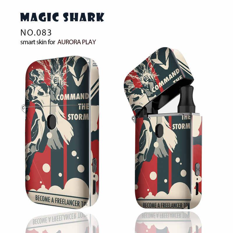 매직 상어 1 개/몫 귀여운 만화 꽃 로봇 오로라 플레이에 대 한 새로운 전체 포드 키트 랩 스킨 필름 케이스 Vape 스티커