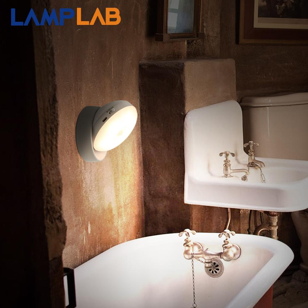 Motion sensor LED Night Light PIR Rechargeable USB Battery Wall Lamp Lighting Bedroom Cabinet Closet Stairs Kitchen Corridor