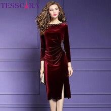 Tesscara 여성 가을/겨울 우아한 구슬 장식 parti dress festa 여성 파티 가운 고품질 디자이너 velvet vestidos