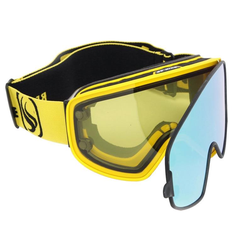 Lunettes de Ski trois couches lentille hommes femmes Snowboard lunettes magnétique double usage lentille pour jour nuit Ski Anti-buée UV400