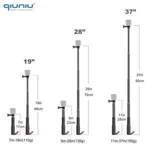 Image 3 - QIUNIU Extendable Monopod Selfie Stick Handheld Pole with Tripod Adapter Mount for GoPro Hero 8/7/6/5 for DJI Osmo Pocket Camera
