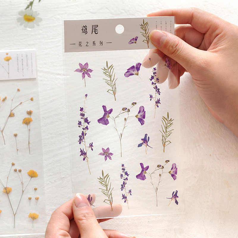 1 Lembar Kawaii Bunga Stiker Lucu Perekat Dekorasi Tanaman Sticker untuk Anak-anak Diy Scrapbooking Diary Perlengkapan Alat Tulis