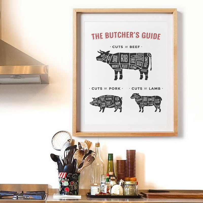 Canvas Painting Print Beef Pork Butcher Diagram Black White Poster Kitchen Art Picture Modern Restaurant Nordic Style Wall Decor
