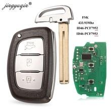 Jingyuqin 3 botão 434 mhz fsk inteligente chave de controle remoto para hyundai ix35 pcf7953 hitag2 id46 verna elantra 7952 chip