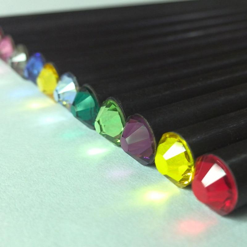 1Pc Kawaii Black Wooden Pencils Creative HB Acrylic Diamond Pencils For Kids Girls Gift Back To School Supplies Stationery