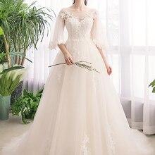 Женские сапоги средней длины с длинными рукавами Новая robe de marie с кружевной аппликацией-трапеция с коротким и длинным подолом, свадебные платья для невесты свадебное платье vestido de noiva