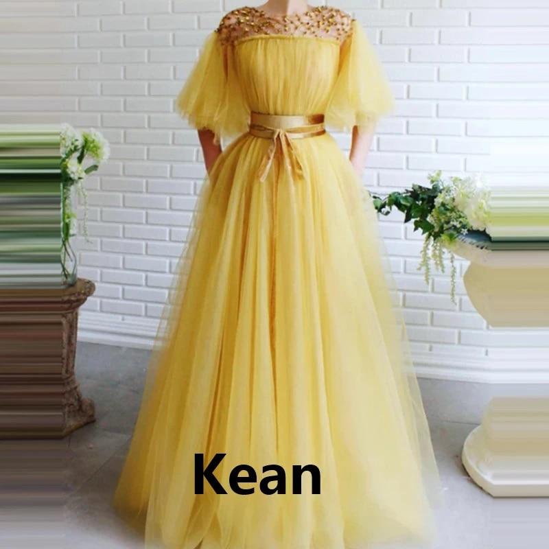 Old Yellow Evening Dress Applique Half Sleeve Beads Special Occasion Robe Soiree Islamic Dubai Kaftan Saudi Arabic Prom Gown Evening Dresses Aliexpress