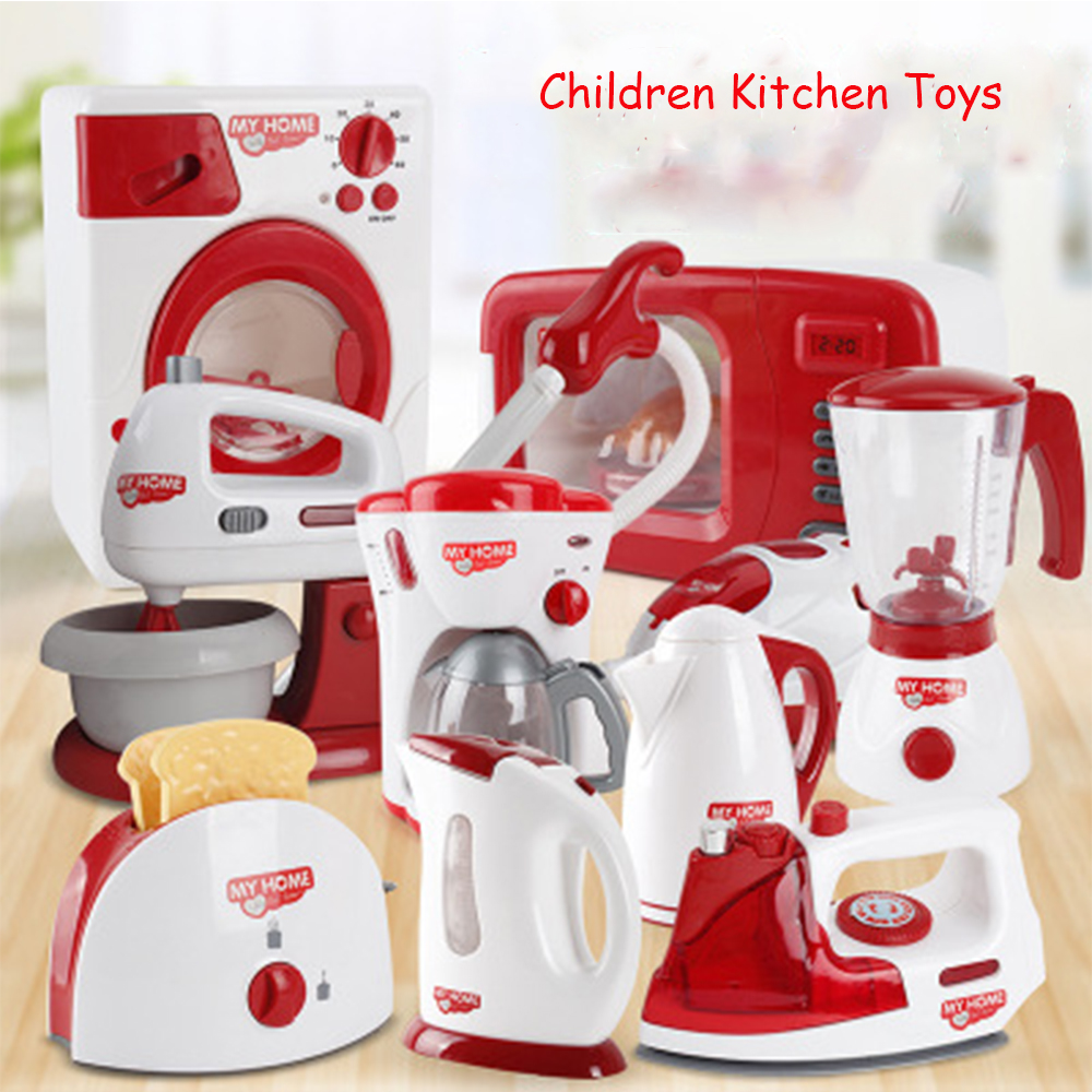 Baby Pretend Play Toys Household Appliances Kitchen Simulation Coffee Machine Blender Kettle Children Housework Game Toys Gifts