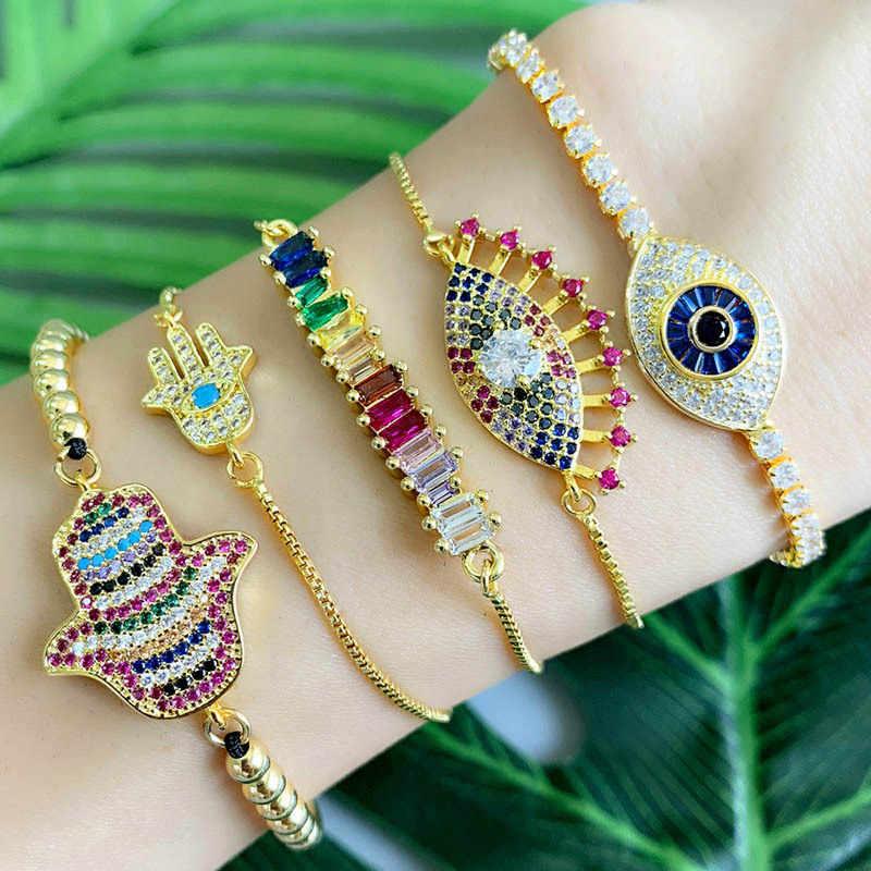Осенний стиль, золотой браслет с цирконием и браслет, женское Радужное покрытие, браслет, Роскошный Регулируемый браслет в форме сердца, глаза, змеиная цепочка
