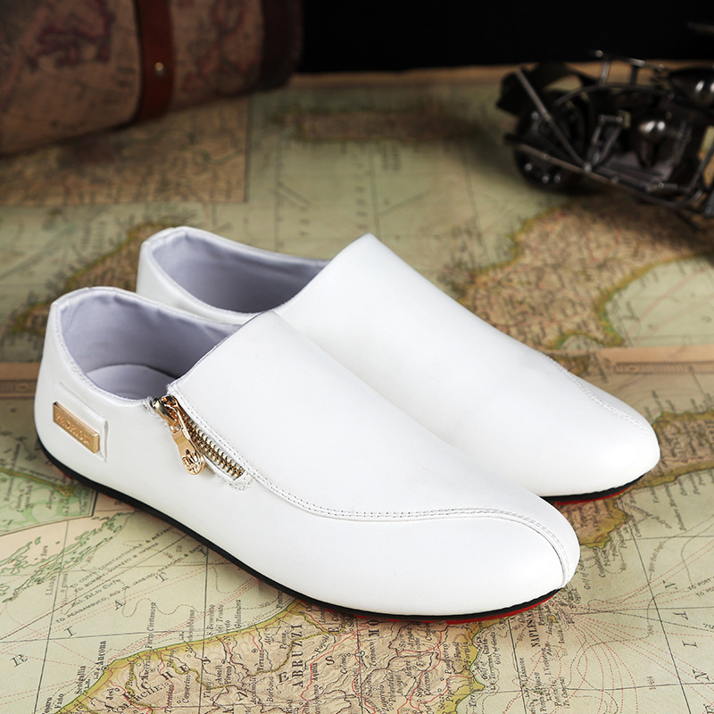 Leather Mens Loafers Fashion  Moccasins Soft Leather Tenis Masculino Adulto White Slip On Men's Boat Shoes Chaussure Y1-59