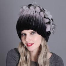 Женская вязаная шапка из меха норки стильная женская меховая