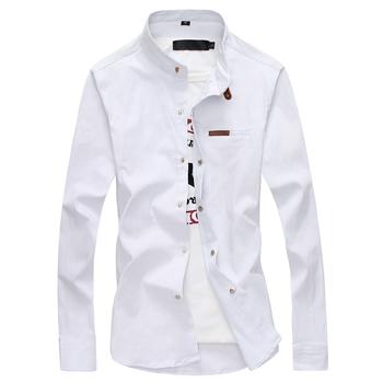 2020 marka koszula męska męskie ubranie koszule moda męska Casual z długim rękawem biznes formalna koszula Camisa społecznej Masculina tanie i dobre opinie COTTON Włókno poliestrowe Tuxedo koszule Pełna MANDARIN COLLAR Pojedyncze piersi REGULAR 19228 Oxford Formalne Stałe