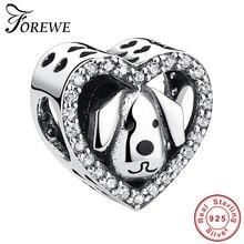 «Любовь навсегда» сердце Кристалл Шарм 925 пробы серебро собака Бусины Подходят Pandora Шарм браслет милые животные DIY ювелирные изделия