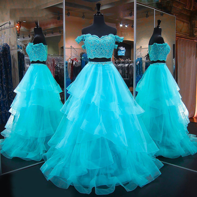 Two 2 Piece Quinceanera Dresses Ball Gown Off Shoulder Tulle Prom Debutante Sweet 16 Dress vestidos de 15 anos image