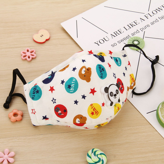 Lovely Kids Children Anti Haze Dust Mask PM2.5 Washable Muffle Bacteria Flu Nose Filter Face Respirator With Valve 5