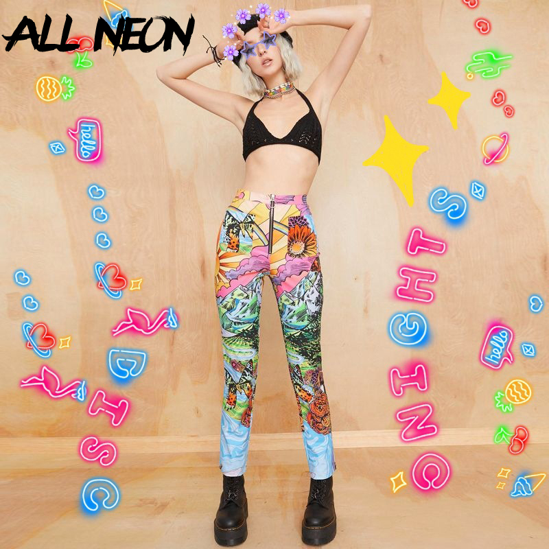 ALLNeon Hip Hop Graphic Long Pants Streetwear High Waist Zipper Front Straight Trouses Fashion Graffiti Print E-girl Outfits