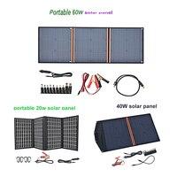 18v 20 w 태양 전지 패널 40w 50w 60w 휴대용 접는 접이식 5 v 2.1a 3a usb 태양 전지 패널 충전기 전원 은행 전화 배터리