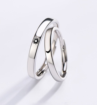 Fashion Simple Opening Sun Moon Ring Minimalist Silver Color Sun Moon Adjustable Ring For Men Women Couple Engagement Jewelry image