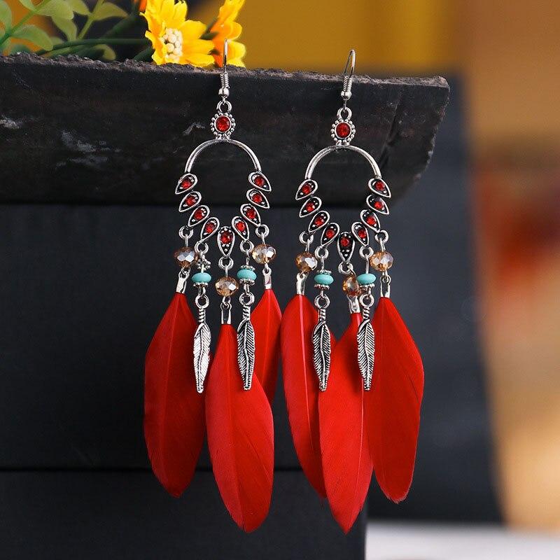 Boêmio brincos de borla de penas para o casamento feminino jóias de penas brincos longos pendurados étnicos indianos brincos de jóias