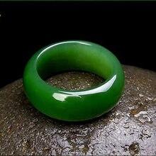 Natural verde hetian jade anel chinês jadeíte amuleto moda charme jóias mão esculpida artesanato presentes para mulher