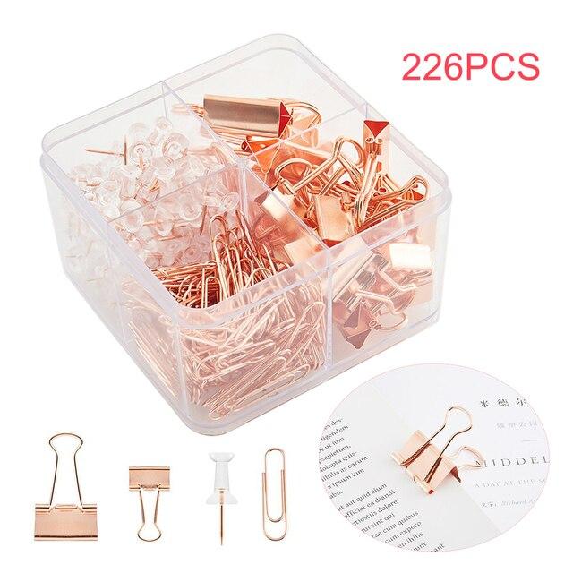 226 pces casa binder grampos de ligação metal escola rosa ouro com caixa de armazenamento material de escritório grampos de papel conjunto papelaria empurrar pinos